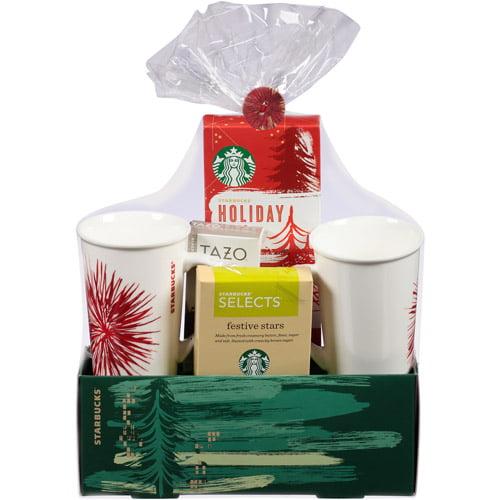 Starbucks Coffee, Tazo Tea and Treats for Two Holiday Gift Set, 5 ...
