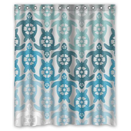 GreenDecor Sea Turtle Waterproof Shower Curtain Set With Hooks Bathroom Accessories Size 60x72 Inches