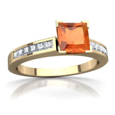 Fire Opal Channel Set Ring in 14K Yellow Gold by