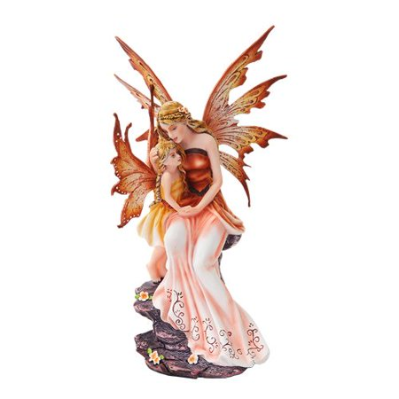 8.75 Inch Mother and Baby Orange Winged Fairy Statue Figurine ()