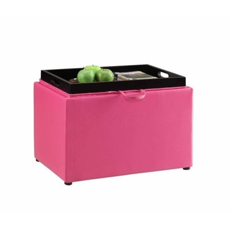 Pemberly Row Accent Storage Ottoman in Pink ()