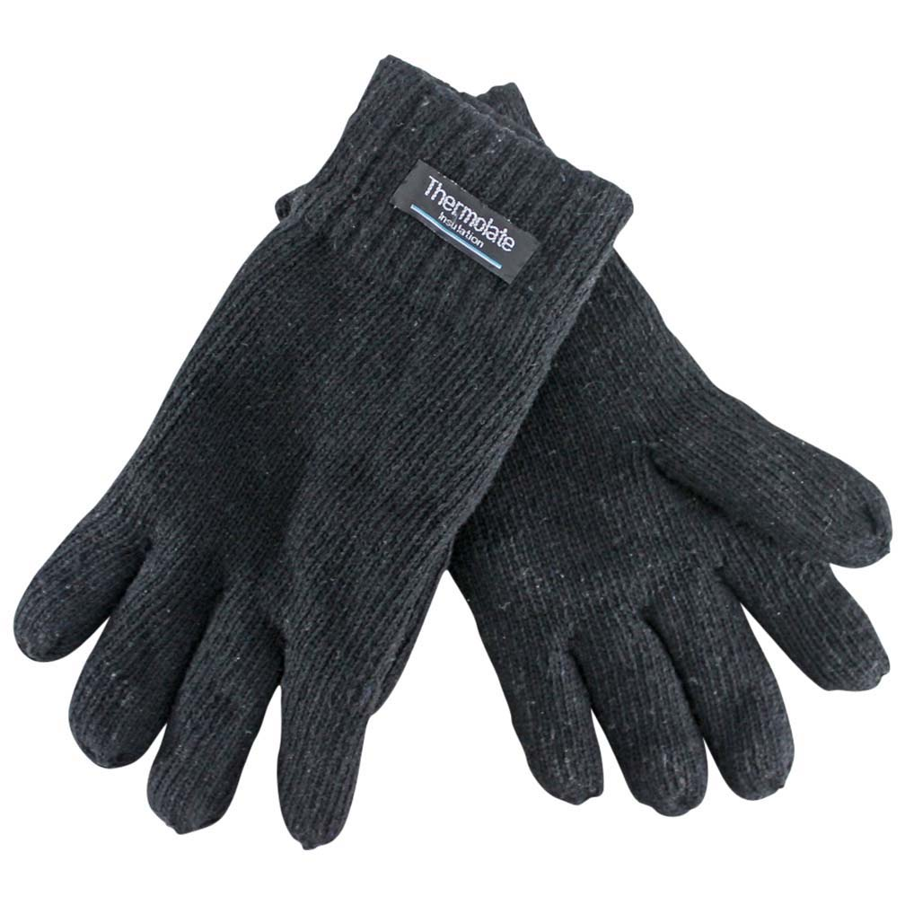 Luxury Divas Black Knit Microfiber Thermolate Men's Lined Gloves