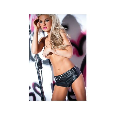 Studded Bustier - Allure Lingerie AL-15-1402 Flirty Studded Shorts Black / L