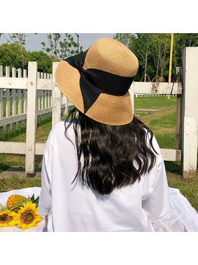 c1f9c7d6 Product Image New Fashion Women Bow Straw Hat Wide Brim Solid Summer Beach  Sun Cap Floppy Trilby Hat