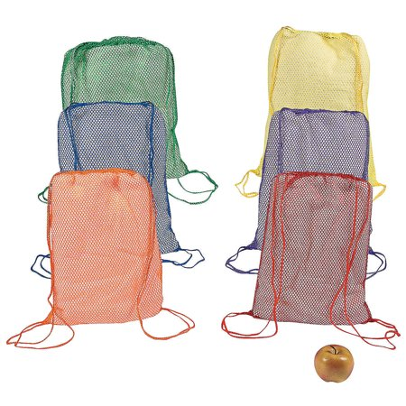 Fun Express - Primary Net Backpacks - Apparel Accessories - Totes - Plain Backpacks - 12 Pieces