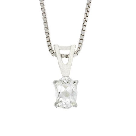 Sterling Silver Prong Set Simulated Diamond cz Small Oval Pendant