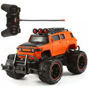 RC Monster Truck Remote Control 1:20 Scale Electric Vehicle Off-Road Race Car With Oversize Tires Radio SUV RTR Beast Buggy Great Toy Gift For Boys Children (Orange)