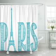 CYNLON Teal Urban Paris Famous Cities Travel Turquoise Aqua Bathroom Decor Bath Shower Curtain 66x72 inch