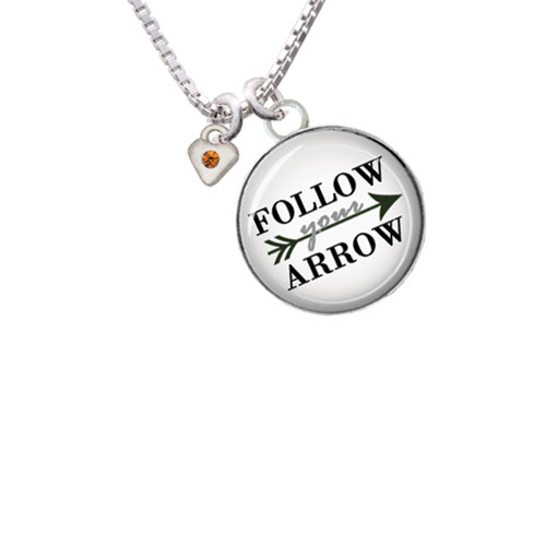 "Mini Yellow Birthday Crystal Heart Follow Your Arrow Glass Dome Necklace, 18""+2"""