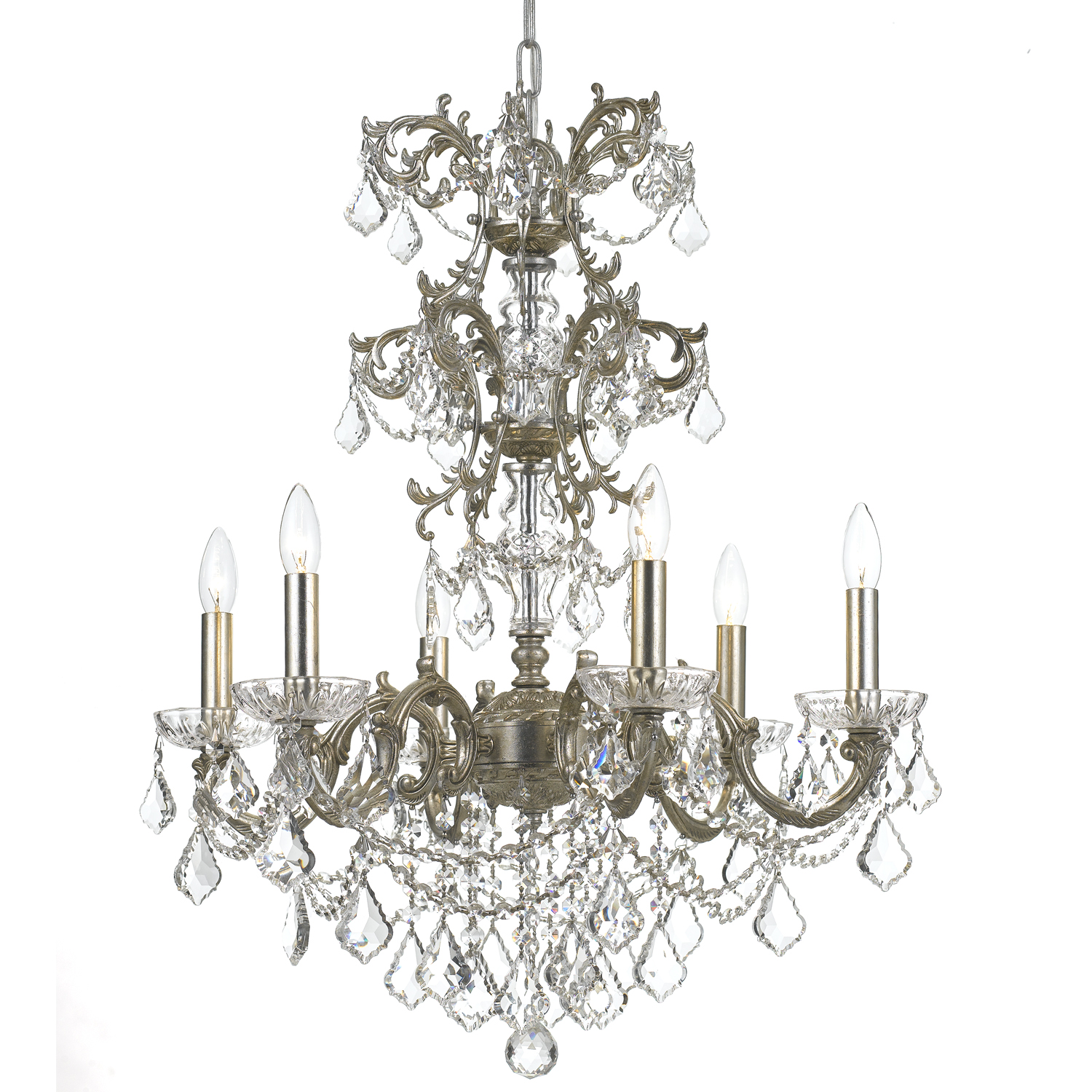Crystorama 5286-OS-CL-MWP: Six Light Chandelier by Crystorama