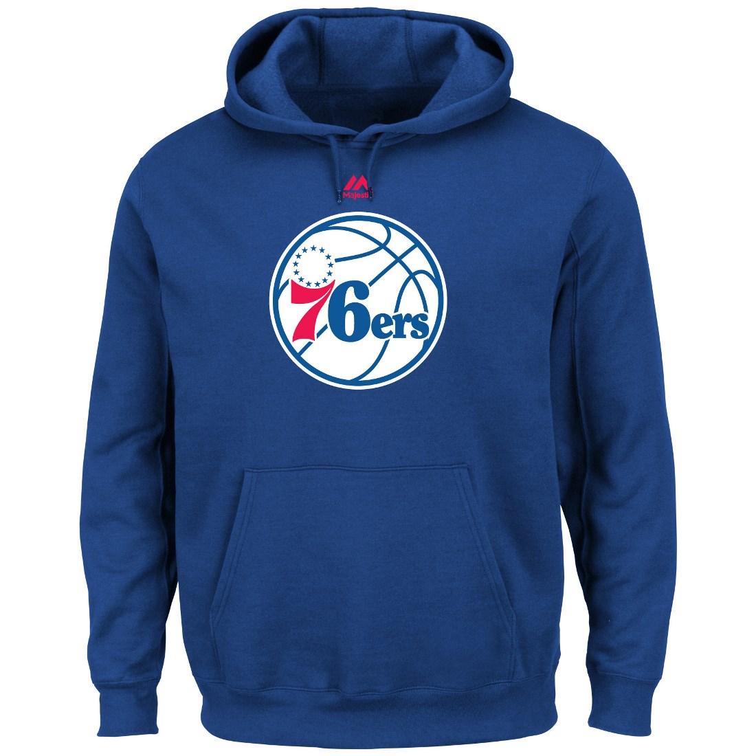 "Philadelphia 76ers Majestic NBA ""Supreme Logo"" Men's Pull..."