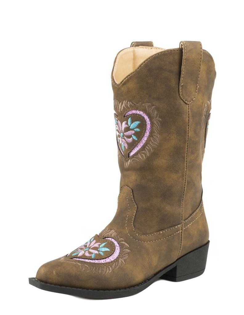 Roper Western Pink Boots Girls Daisy Heart Pink Western Brown 09-018-1556-1117 BR 88b08a