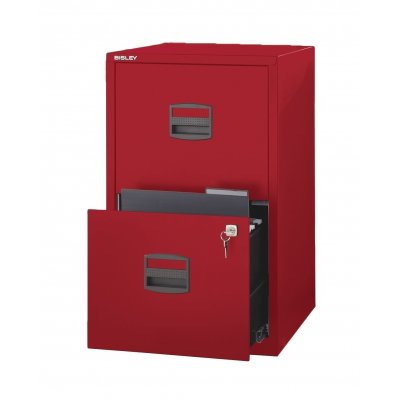 Bisley Two Drawer Steel Home Filing Cabinet, Red BDSFILE2RD by
