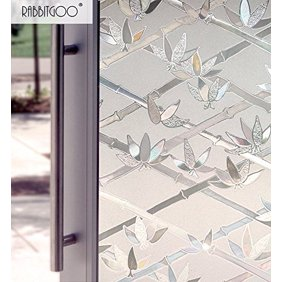 rabbitgoo 3ft x 3d no glue static decorative frosted.htm rabbitgoo frosted window film non adhesive decorative leaf static  rabbitgoo frosted window film non