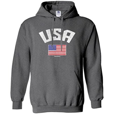 w republic products 514-usa-hgy-02 usa american flag hoodie sweatshirt - medium, heather grey ()