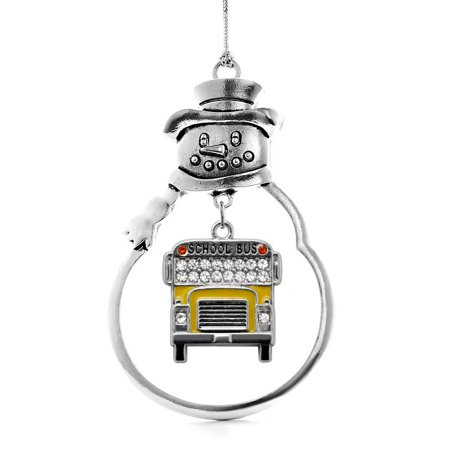 Half Carat School Bus Snowman Holiday Ornament