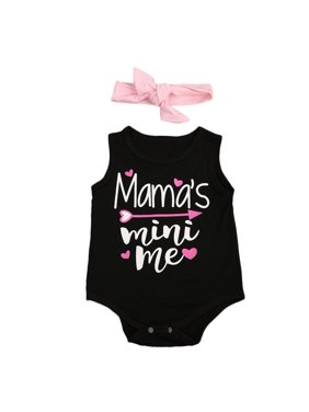03c39f031 Product Image Mama's Mini me Newborn Infant Baby Girls Cotton Romper  Sleeveless Jumpsuit Outfits Summer Sunsuit Clothes +