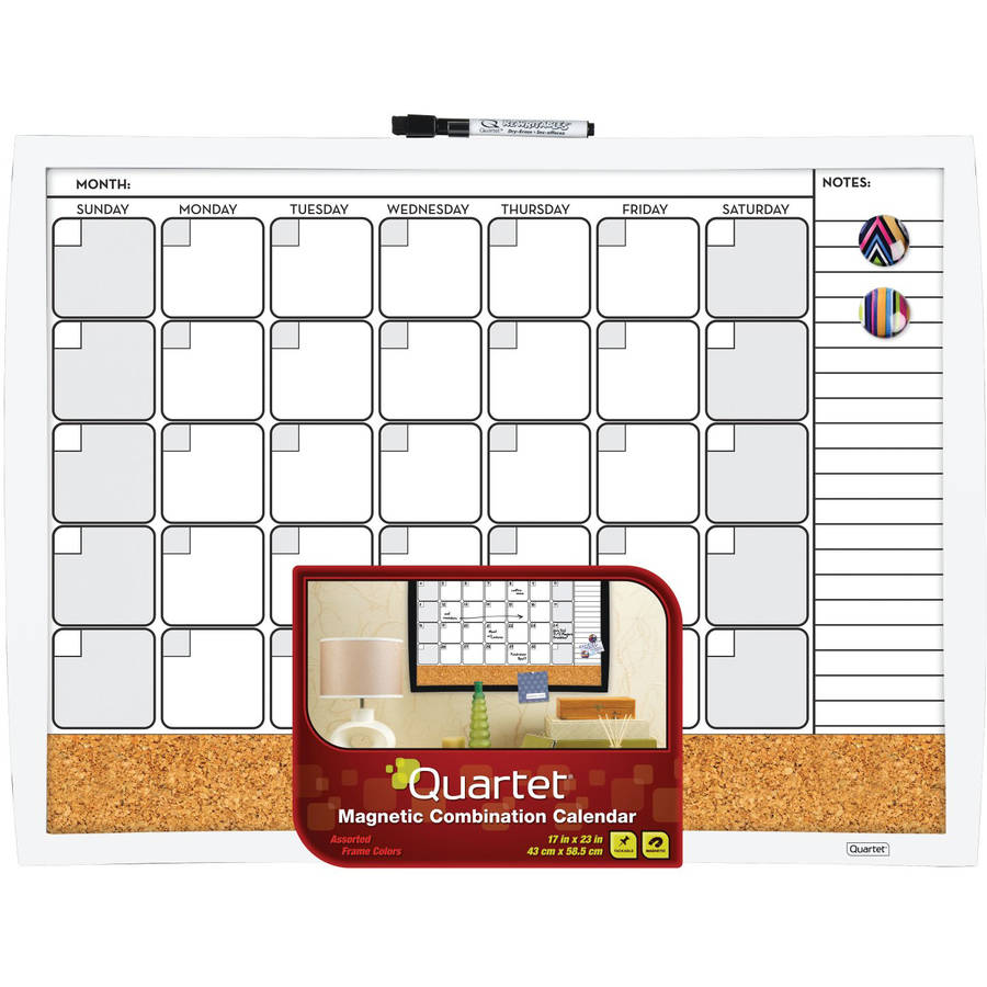"17"" x 23"" 3-In-1 Calendar Combo Board, White"