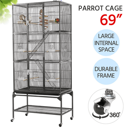 Extra Large Bird Parrot Cage Rolling Metal Pet Cage with Detachable