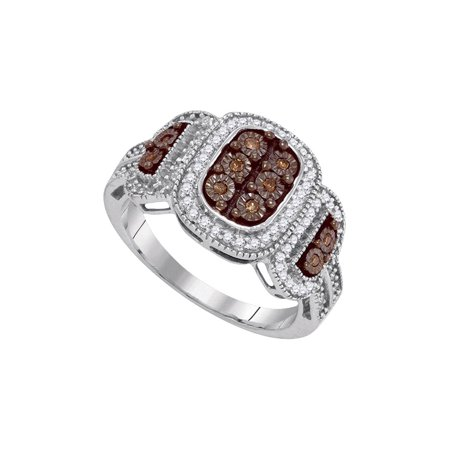 10kt White Gold Womens Round Brown Diamond Cluster Ring 1/3 Cttw