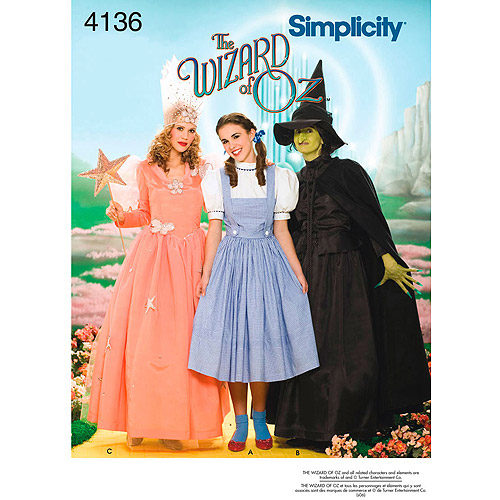 Simplicity Pattern Misses' Wizard of Oz Costumes, (6, 8, 10, 12)