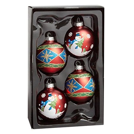 2.5 Inch Snowman Bell Ornament - Nantucket Home Glass Christmas Ornaments, 2.5-Inch, 4-Pack (Snowman & Diamond)