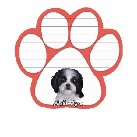 Shih Tzu Black and White Dog Paw Magnetic Note Pad