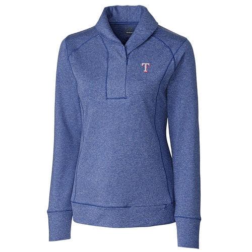 Women's Cutter & Buck Heathered Royal Texas Rangers Shoreline Half-Zip Sweatshirt