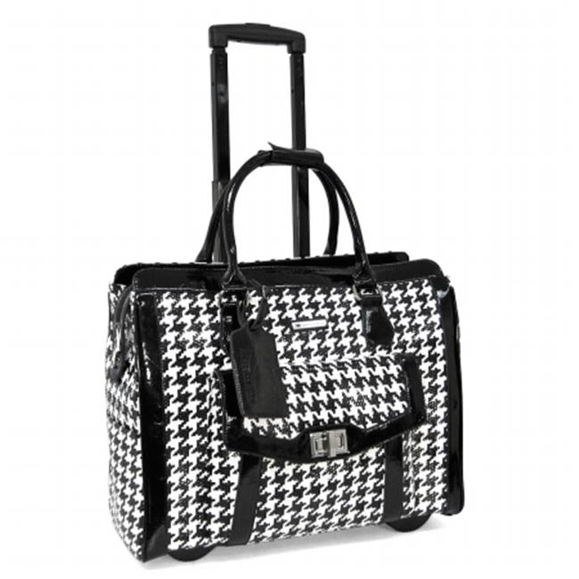 Cabrelli 715007U_BWT Victoria Houndstooth 15. 6 inch Laptop Rollerbrief, Black and White