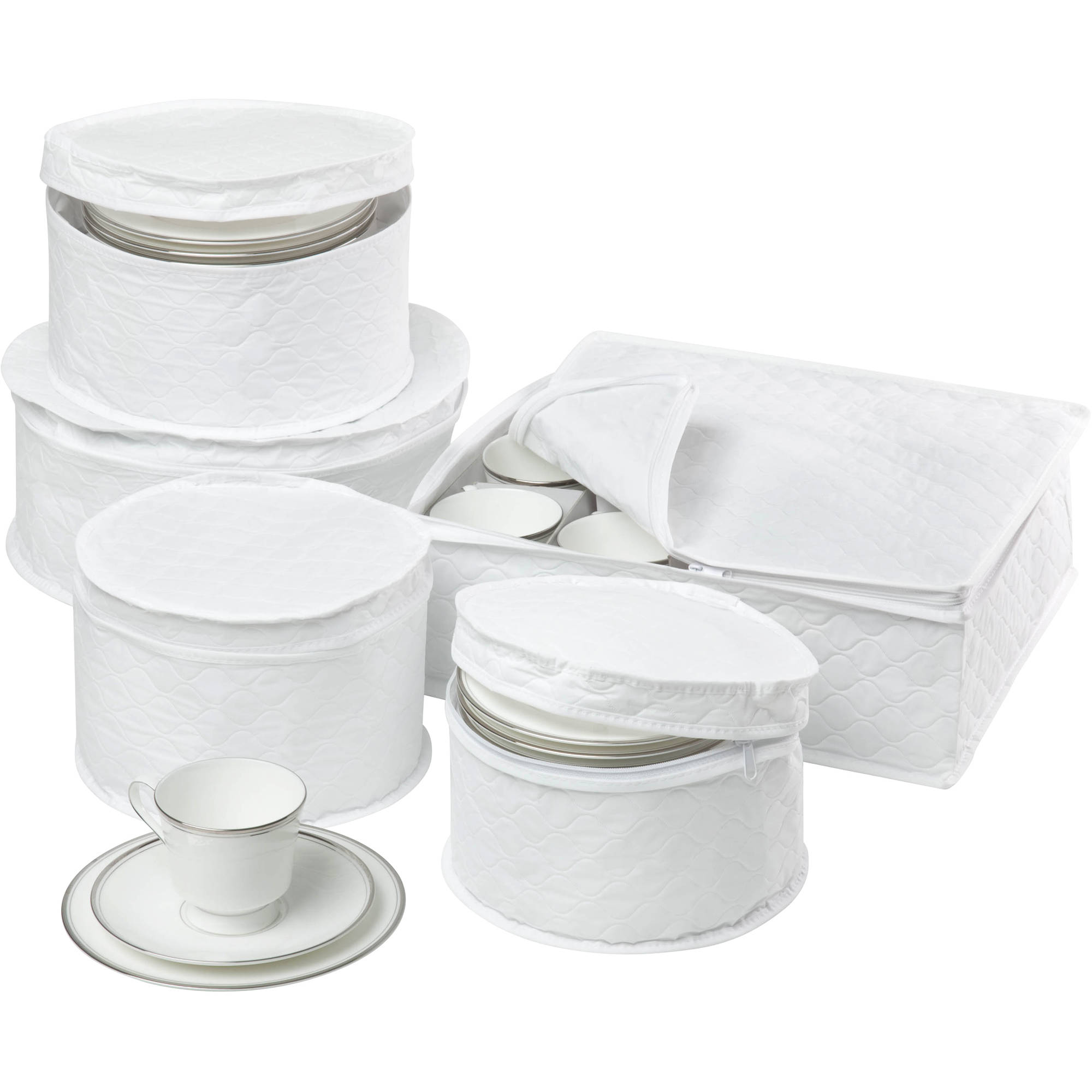 Honey Can Do 5pc Dinnerware Storage Set With Stay Closed Cases, White    Walmart.com
