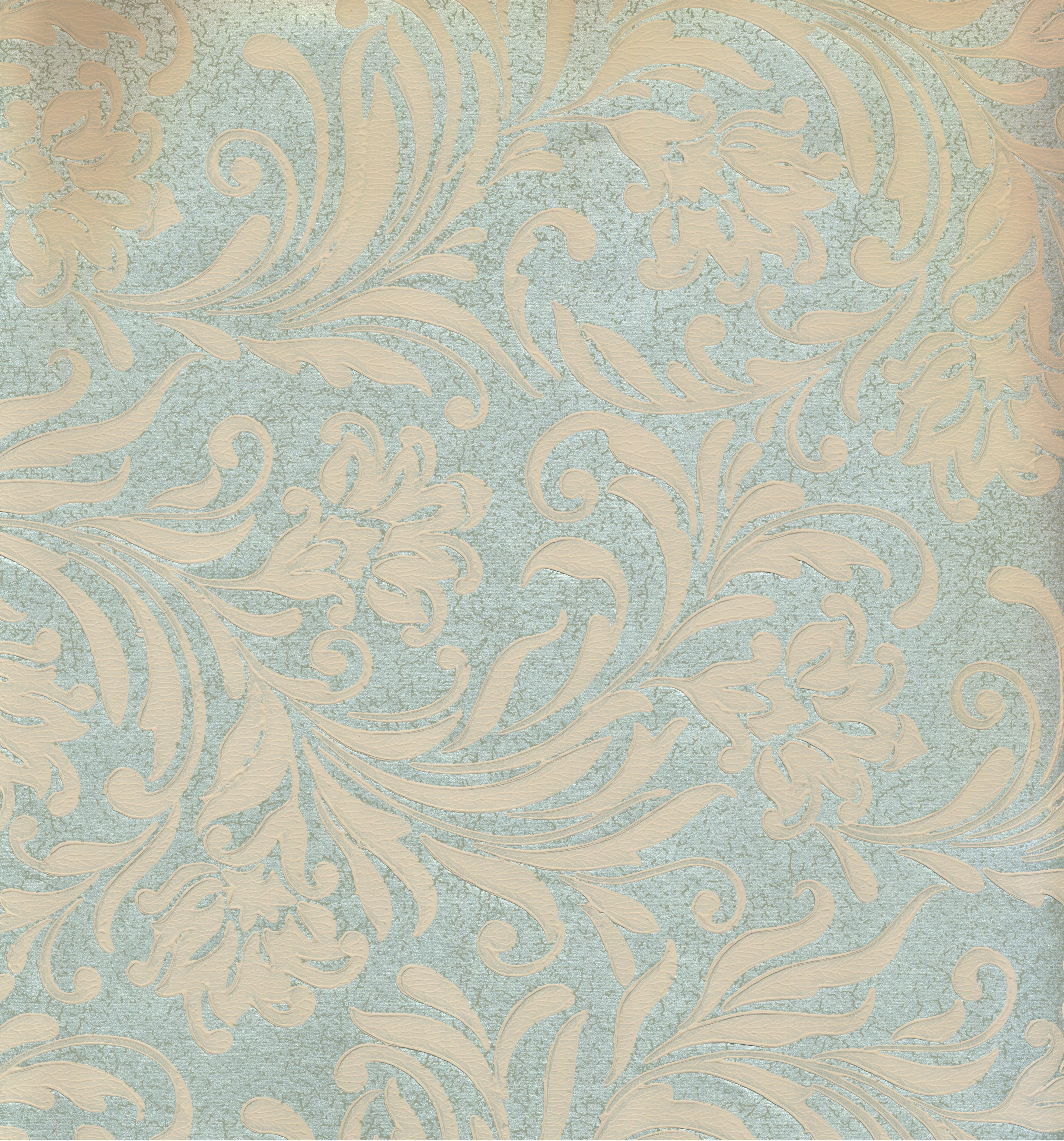 DAMASK - Traditional Green, Biege Wallpaper Roll - image 1 of 1
