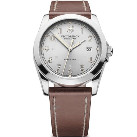 Victorinox Swiss Army Infantry Automatic Silver Dial Brown Leather Men's Watch Model 241566
