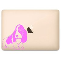 "Soft Pink Basset Hound Decal for 12"" Macbook"