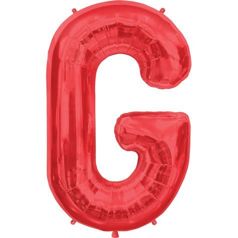Letter G - Red Helium Foil Balloon - 34 inch