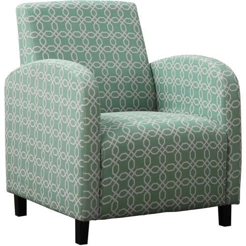 "Monarch Accent Chair Grey / Earth Tone "" Hexagon "" Fabric"