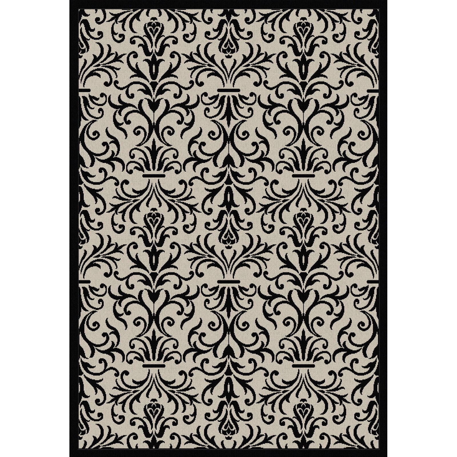 Dynamic Rugs Piazza French Indoor/Outdoor Area Rug - Sand/Black