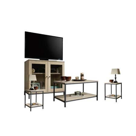 4 Piece Living Room Set with Coffee Table and TV Stand with (Set of 2) Nightstand in Charter Oak