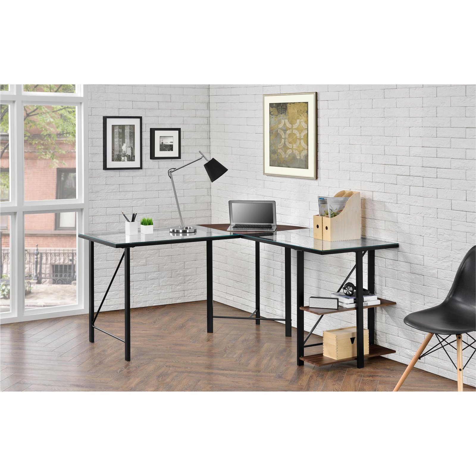 Ameriwood Home Cruz Glass Top L Desk, Cherry/Black