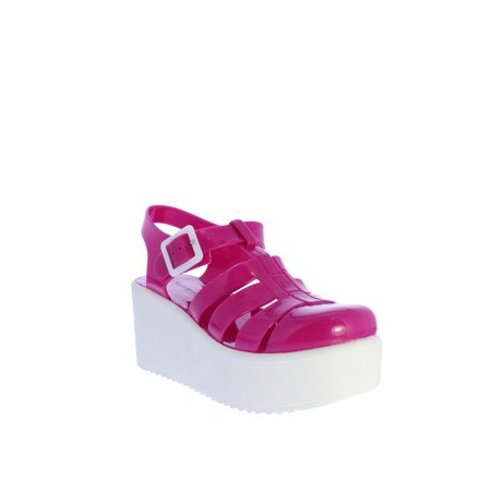 Nature Breeze Disco-02 Jelly Platform Sandal in Fuchsia Medium Pink Jelly