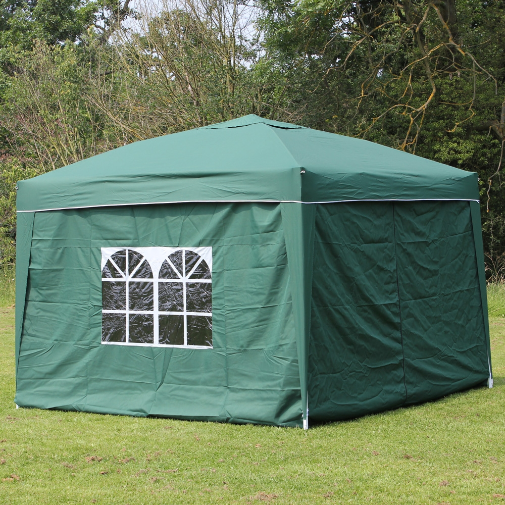 10 x 10 PALM SPRINGS EZ POP UP GREEN CANOPY GAZEBO TENT WITH 4 SIDE WALLS NEW