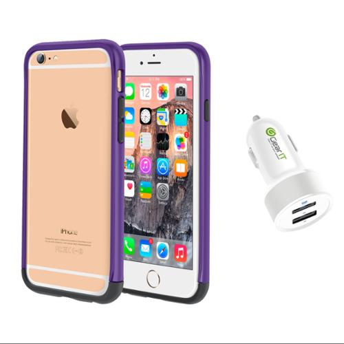 iPhone 6 Case Bundle (Case + Charger), roocase iPhone 6 4.7 Strio Bumper Open Back with Corner Edge Protection Case Cover with White 4