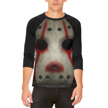 Halloween Horror Movie Hockey Mask Costume Mens Raglan T - Sounds Of Horror Halloween Ball