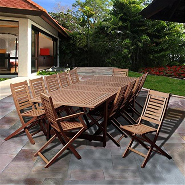 SC LEY-10BT225-2BT224 Brandon 13 Piece Eucalyptus Extendable Rectangular Patio Dining Set
