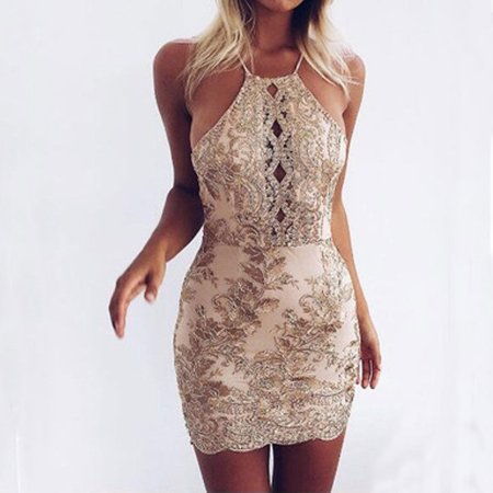 - Women Lace Embroidered Short Dress Backless Sleeveless Bodycon Party Halter Neck Stretch Mini Dress Gold S