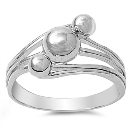 Ball Bead Round Nugget Wave Statement Ring ( Sizes 5 6 7 8 9 10 ) .925 Sterling Silver Band Rings by Sac Silver (Size (Stretch Band Bead Ring)