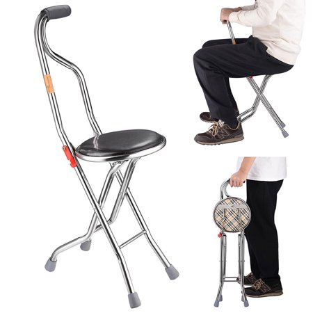Sport Seat Cane (Yescom Medical Folding Walking Stick with Seat Four Legged Portable Travel Hiking Cane Chair Stool Eldely Care)