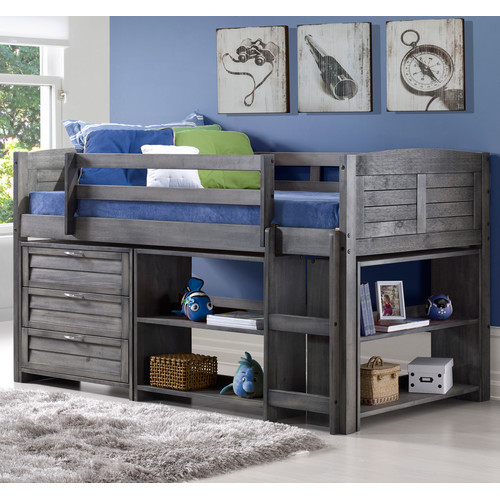 Harriet Bee Evan Modern Twin Low Loft Bed With Storage Walmart Com