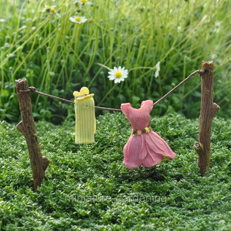 Miniature Out to Dry Clothesline for Miniature Garden, Fairy Garden - Fairy Garden Halloween Decorations