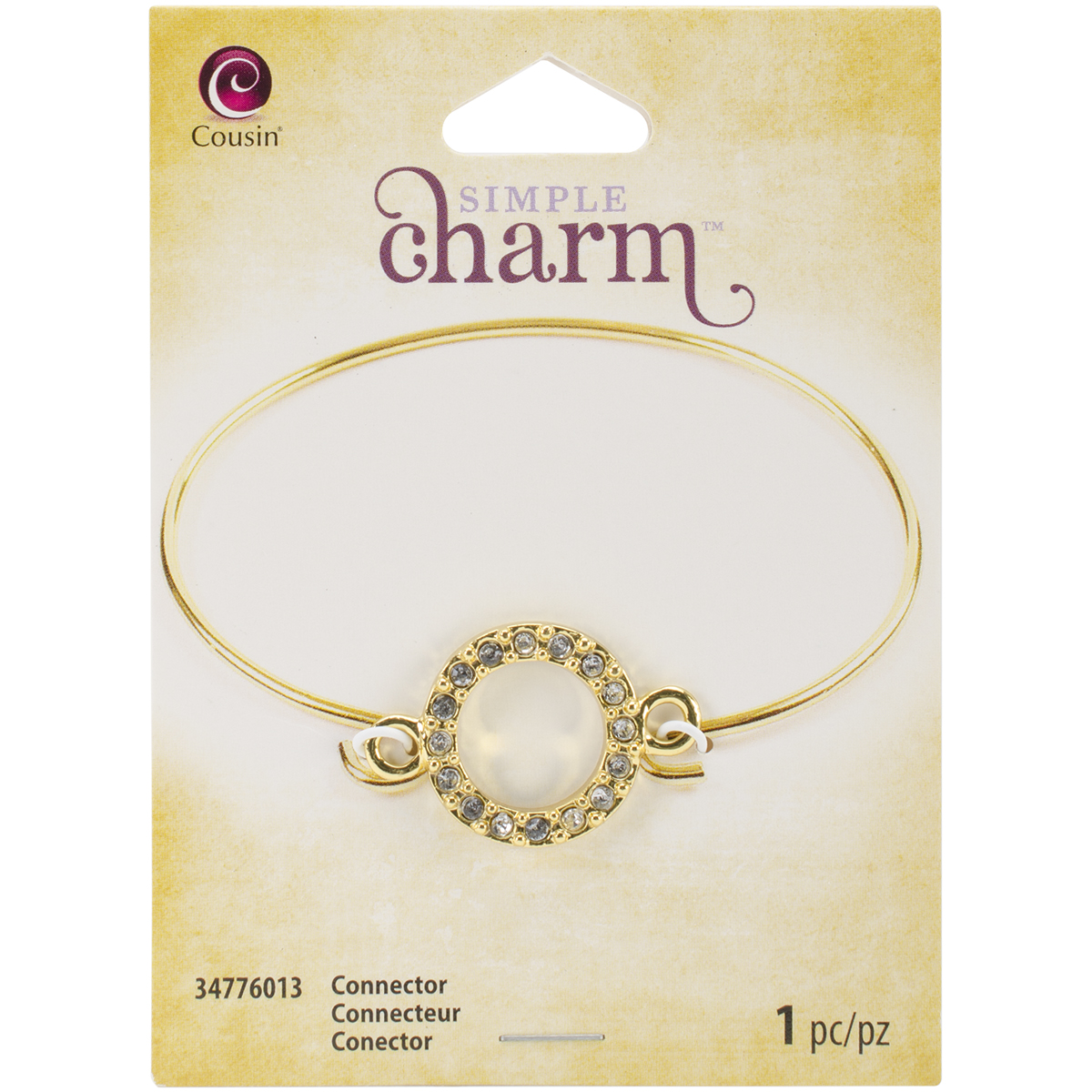 Simple Charm Connector 1/Pkg-Gold Eternity Circle W/Rhinestone