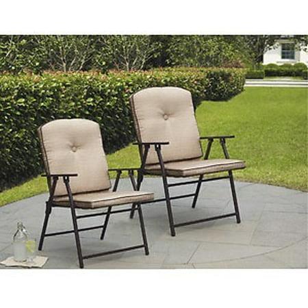 Mainstays Ms Padded Fabric Folding Chair Brown Walmart Com